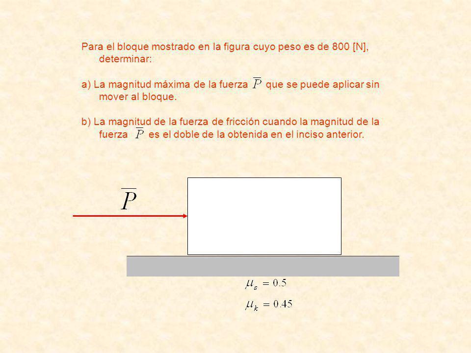 Para el bloque mostrado en la figura cuyo peso es de 800 [N], determinar: